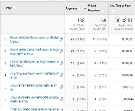 Google Analytics - Pageview Information